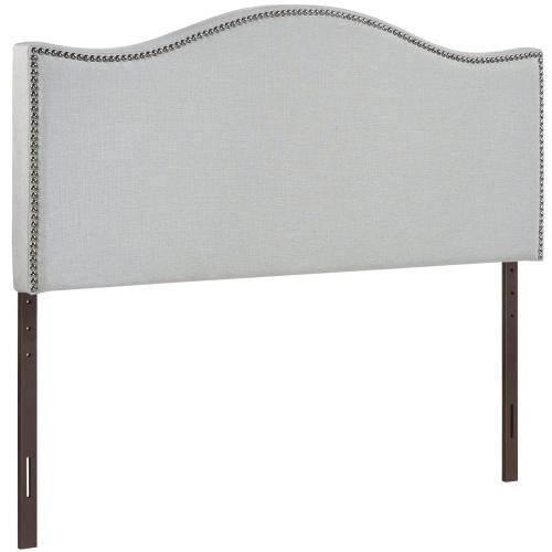 Curl Queen Nailhead Upholstered Headboard in Sky Gray
