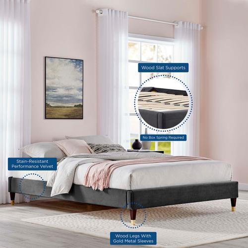 Harlow Queen Performance Velvet Platform Bed Frame in Charcoal