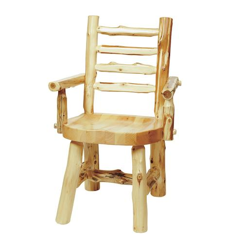 Ladder-back Arm Chair - Natural Cedar - Wood Seat