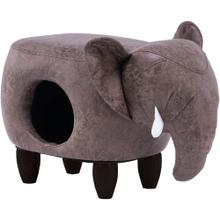 See Details - Critter Sitters 16-In. Seat Height Brown Elephant Pet House Ottoman Furniture for Nursery, Bedroom, Playroom, Living Room Decor, CSELEPET-BRW
