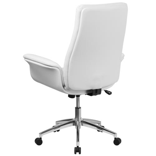 Gallery - Mid-Back White LeatherSoft Executive Swivel Office Chair with Flared Arms