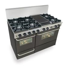 """See Details - 48"""" Dual Fuel, Convect, Self Clean, Open Burners, Black"""