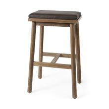 Eliza 17.0L x 13.0W x 30.0H Dark Brown Leather Seat W/ Medium Brown Wood Frame Bar Stool