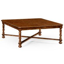 Heavily distressed large square parquet coffee table