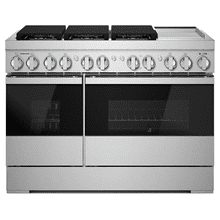 "NOIR™ 48"" Dual-Fuel Professional-Style Range with Chrome-Infused Griddle and Steam Assist"