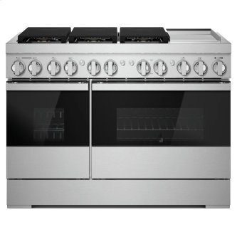 """NOIR™ 48"""" Dual-Fuel Professional Range with Chrome-Infused Griddle"""