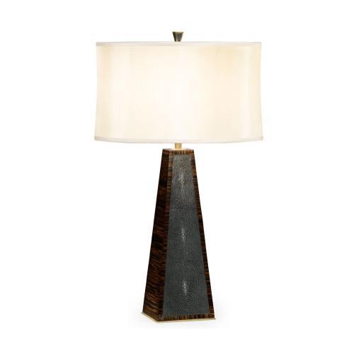 Art Deco Macassar Ebony & Anthracite Shagreen Table Lamp