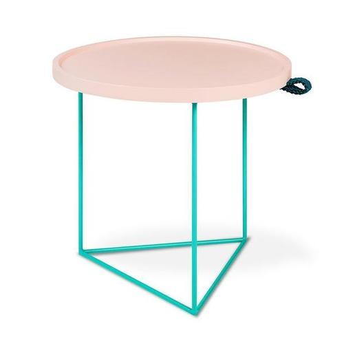 Gus* x LUUM Porter End Table - Hematite Pink Pop Hematite