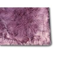 "Modern Fox Faux Fur Luxury Area Rug Appx. 3"" Pile Height by Rug Factory Plus - 5' x 7' / Dip Dye Dark and Light Purple"