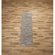 See Details - Grey Leather Chindi 2x6 Rug (Each One Will Vary)