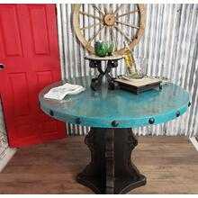View Product - Turquoise Oxidised Cu Table Prettify w/ Nailhead u0026 Hefty Single Pedestal-1204E