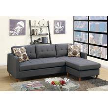 Faizel 2pc Sectional Sofa Set, Charcoal Glossy