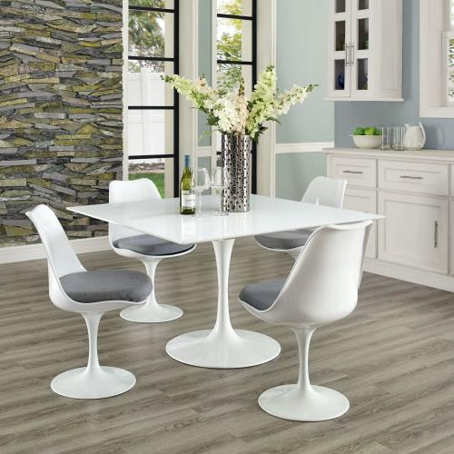 "Lippa 47"" Square Wood Top Dining Table in White"
