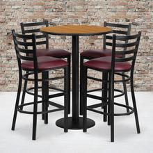 Product Image - 30'' Round Natural Laminate Table Set with Round Base and 4 Ladder Back Metal Barstools - Burgundy Vinyl Seat