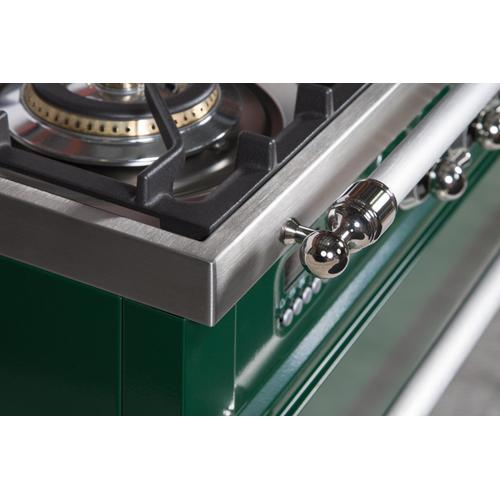 Nostalgie 24 Inch Dual Fuel Natural Gas Freestanding Range in Emerald Green with Chrome Trim