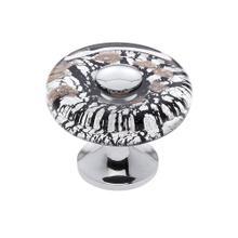 Polished Chrome 35 mm Clear Flat Round Knob
