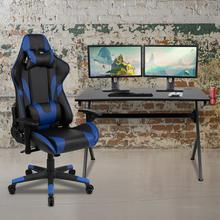 See Details - Black Gaming Desk and Blue\/Black Reclining Gaming Chair Set with Cup Holder, Headphone Hook & 2 Wire Management Holes