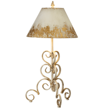 Distressed Ivory & Gold Scroll Base Table Lamp. 60W Max.