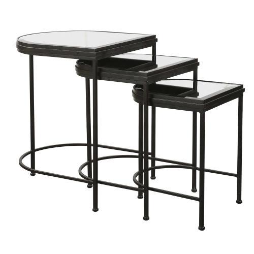 India Nesting Tables, Black, S/3