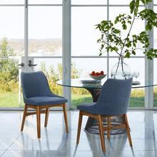 Azalea Blue Fabric and Walnut Wood Dining Side Chairs - Set of 2