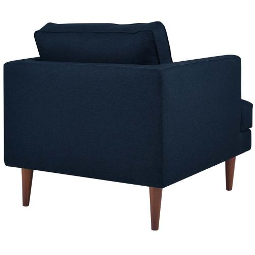Agile Upholstered Fabric Armchair Set of 2 in Blue