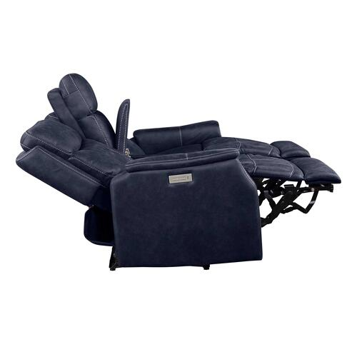 Valencia Dual-Power Leatherette Reclining Console Loveseat, Ocean Blue