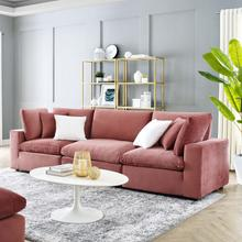 Commix Down Filled Overstuffed Performance Velvet 3-Seater Sofa in Dusty Rose