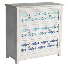 3 Drawer White Wash Chest with Gradient Blue Swimming Fish