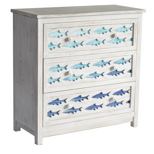 Crestview Collections - 3 Drawer White Wash Chest with Gradient Blue Swimming Fish