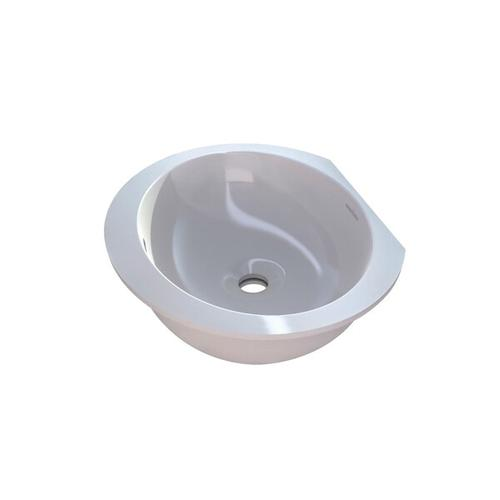 Kaali 46 Oval 18-3/4 Inch Undermount Lavatory Sink in Volcanic Limestone™ with Internal Overflow - Gloss White