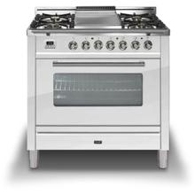 """36"""" Professional Plus Series Freestanding Single Oven Gas Range with 5 Sealed Burners in True White"""