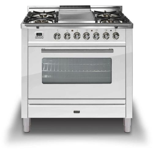 """Ilve - 36"""" Professional Plus Series Freestanding Single Oven Gas Range with 5 Sealed Burners in True White"""