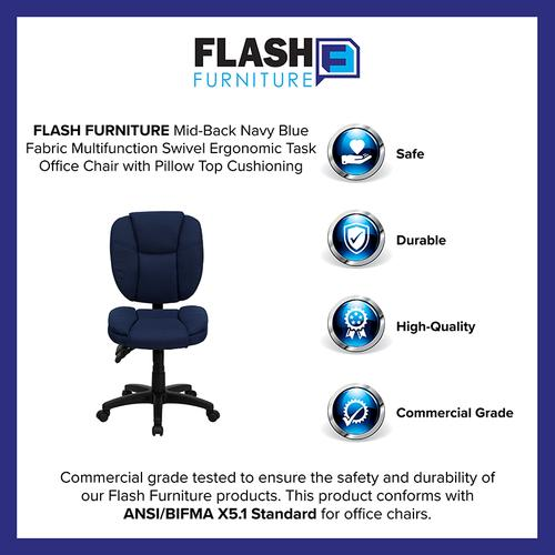 Gallery - Mid-Back Navy Blue Fabric Multifunction Swivel Ergonomic Task Office Chair with Pillow Top Cushioning