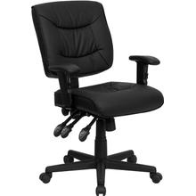 View Product - Mid-Back Black LeatherSoft Multifunction Swivel Ergonomic Task Office Chair with Adjustable Arms