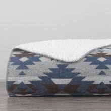 Aztec Design Throw With Shearling, 3 Colors, 50x60 - Blue