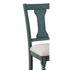 Upholstered Seat Side Chairs, Teal Blue (set of 2)