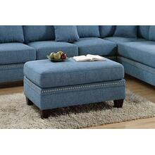 Iwan Cocktail Ottoman, Blue-cotton-blend