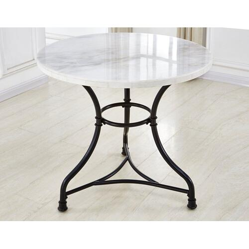 Claire 34 inch Round White Marble Top Bistro Table