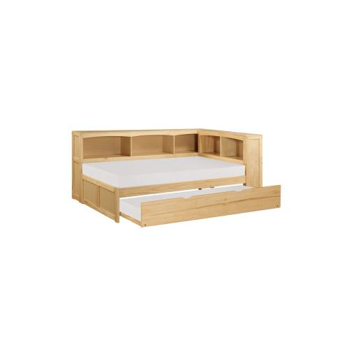 Twin Bookcase Corner Bed with Twin Trundle