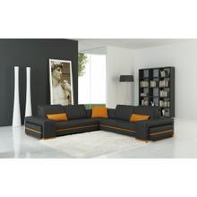 Divani Casa 5070C Modern Grey and Orange Bonded Leather Sectional Sofa