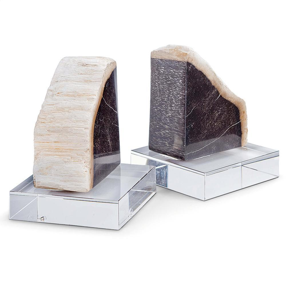 See Details - Petrified Wood Bookends On Crystal