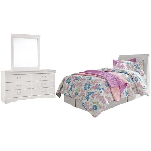 Twin Sleigh Headboard With Mirrored Dresser