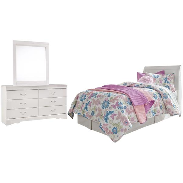 See Details - Twin Sleigh Headboard With Mirrored Dresser