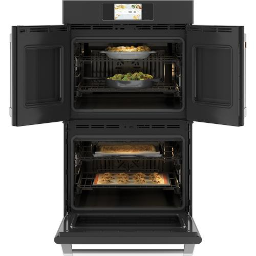 """Café ™ 30"""" Built-In French-Door Double Convection Wall Oven Matte Black"""