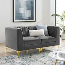 See Details - Triumph Channel Tufted Performance Velvet Loveseat in Gray