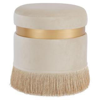 Suri Velvet Fabric Fringe Round Storage Ottoman, Serene Cream/ Gold