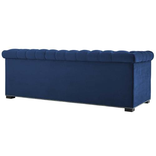 Heritage Performance Velvet Sofa in Midnight Blue