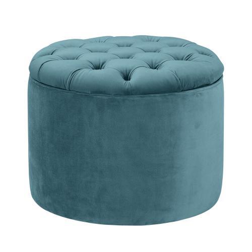 Tov Furniture - Queen Sea Blue Velvet Storage Ottoman