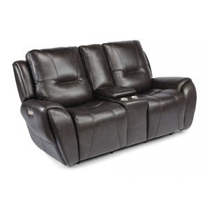 FlexsteelTrip Power Reclining Loveseat with Console & Power Headrests