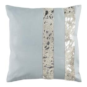 Kinston Metallic Cowhide Pillow - Grey / Silver